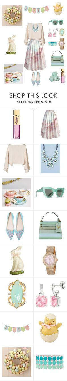 """Happy Easter!"" by kikikoji ❤ liked on Polyvore featuring Yves Saint Laurent, Chicwish, Boohoo, GreenGate, Billabong, Sophia Webster, Valentino, Pier 1 Imports, bürgi and Henri Bendel"