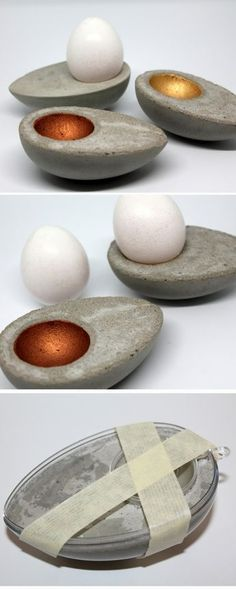 DIY Eierbecher aus Beton in Eiform ganz einfach selber machen! Mit dieser Anleit… DIY Egg Cup made of concrete in egg shape make it easy! With this guide it works in any case! Diy Crafts To Do, Creative Crafts, Diy Hanging Shelves, Concrete Crafts, Egg Cups, Egg Shape, Diy Home Decor Projects, Just Do It, Eggs