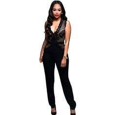 """Century Star Womens Sexy Hot Elegant Deep V Neck Lace Accent Close Fit Jumpsuit Black S. Our Brand: Century Star is a brand registered in the USA, to ensure quality product, NEVER purchase Century Star Brand items out of Century Star store. Material: 95% Polyester 5% Spandex. It is a nice sheer material that really accents your body and feels so comfortable against the skin. Size: S Bust: 83-95cm/32.7-37.4"""" Waist: 66-82cm/25.9-32.2"""" Hip: 90-114cm/35.4-44.9"""" Length: 141cm/55.5"""" M Bust…"""
