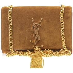 SAINT LAURENT Monogram small suede shoulder bag ($1,769) ❤ liked on Polyvore featuring bags, handbags, shoulder bags, chain shoulder bag, brown suede purse, brown suede handbag, purse shoulder bag and suede purse