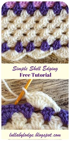 Crochet Shell Border Tutorial Learn how to add a simple row of shells to your g. Crochet Shell Border Tutorial Learn how to add a simple row of shells to your granny square blanke Crochet Border Patterns, Crochet Blanket Border, Crochet Boarders, Crochet Shell Stitch, Granny Square Crochet Pattern, Crochet Granny, Easy Crochet, Crochet Edges For Blankets, Crochet Stitches