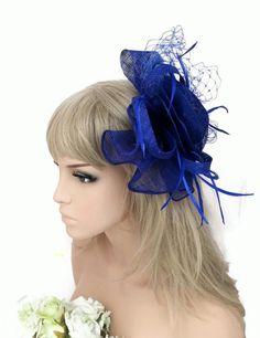 Stunning Royal Blue Mesh Net Ruffle Hair Grip Fascinator Feathers Races Wedding