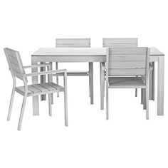 gray table, get white chairs? FALSTER Table and 4 armchairs, outdoor - gray - IKEA Patio Ikea, Ikea Outdoor, Outdoor Dining Furniture, Outdoor Dining Set, Garden Furniture, Dining Sets, Outdoor Tables, Dining Tables, Iron Furniture