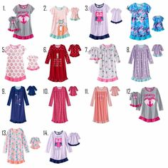 1ead9384c0 Girl 4-14 and Doll Matching Nightgown Pajama Clothes American Girls Dollie   amp  Me