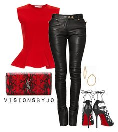 """""""Untitled #1407"""" by visionsbyjo on Polyvore featuring Antonio Berardi, Christian Louboutin, Balmain, Yves Saint Laurent, Bony Levy, women's clothing, women's fashion, women, female and woman"""