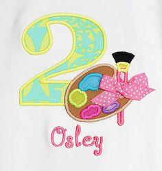 Paint Palette Birthday Shirt, Art Birthday Shirt, Art Birthday Bodysuit, Art Birthday Party, Girls Birthday Shirt, Number, Girls Second