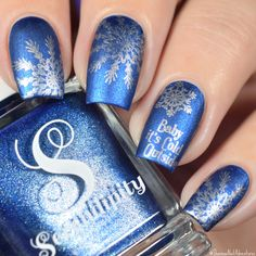 Baby it IS cold outside! Even here in SoCal! Brrrr  Anyway! Let's enjoy @shannasnailadventures gorgeous winter nails using •Sequins & Bowties• and •Midnight Kisses•   Available on SERENDIPITYPOLISH.COM