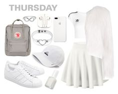 """""""angelic white"""" by styles-fashions on Polyvore featuring adidas Originals, adidas, Fjällräven, Essie, Giamba, PhunkeeTree and Jewel Exclusive"""