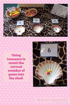 Count the correct number of beads into the shells. Children can also practise one more and less. Maths Eyfs, Numeracy Activities, Pirate Activities, Eyfs Classroom, Fine Motor Activities For Kids, Seaside Theme, Sea Theme, Sharing A Shell, Finger Gym