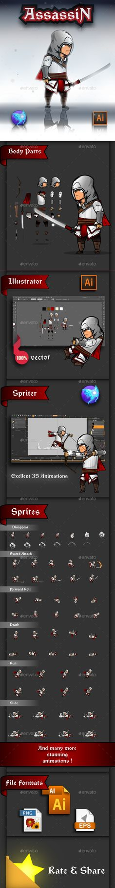 The Light Assassin Game Character Sprites - Sprites Game Assets