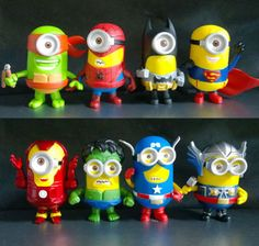 Lot 8 Super Heroes Minion Figures Avengers Spider Man Batman Superman Thor Hulk   eBay Minion Avengers, Batman Minion, Minions Despicable Me, Avengers Birthday, Minion Birthday, Minion Party, Batman And Superman, Superhero Party, Boy Birthday