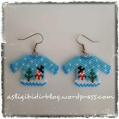 Beaded Earrings Patterns, Seed Bead Patterns, Beading Patterns, Beaded Christmas Ornaments, Christmas Earrings, Christmas Jewelry, Christmas Snowman, Seed Bead Jewelry, Bead Jewellery