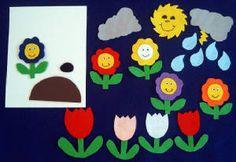 5 Little Flowers Felt Set $8.00