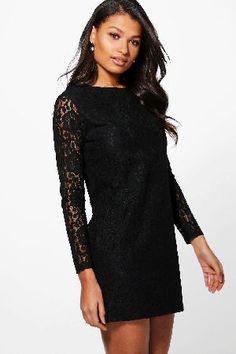 #boohoo Lace Long Sleeve Shift Dress - black DZZ64475 #Ismita Lace Long Sleeve Shift Dress - black