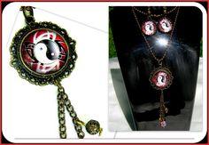 Parure cabochon yin et yang rouge ,en bronze : Parure par camelys-bijoux