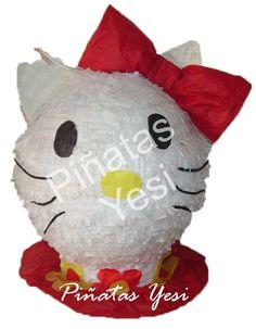 Piñata artesanal hecha a mano al estilo tradicional mexicano de Hello Kitty
