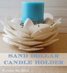 Sand Dollar Candle Holder :Across the Blvd Diy Arts And Crafts, Creative Crafts, Diy Craft Projects, Diy Crafts, Craft Ideas, Play Ideas, Decorating Ideas, Decor Ideas, Seashell Art