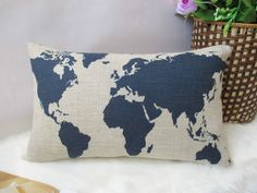 1 cotton linen world map ink design Africa Asia Americas pillow cover 30*50 cm #new