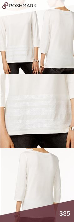 Tommy Hilfiger White Sequin Embellished Top M Tommy Hilfiger White Sequin Embellished Top M  Size: Medium  Boat neck, sequin detail, 3/4 sleeves, cotton modal, white ivory color  NWT / New with tags Tommy Hilfiger Tops