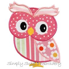 Girl Owl Machine Embroidery Applique by SimplySweetEmbroider, $4.00