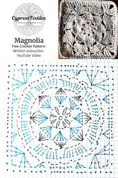 Granny Square Crochet Pattern, Crochet Stitches Patterns, Crochet Diagram, Crochet Chart, Crochet Squares, Crochet Granny, Free Crochet, Knitting Patterns, Cross Stitches
