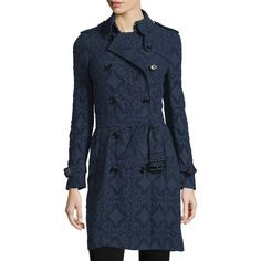 Burberry London Double-Breasted Lace Trench Coat ($3,210) ❤ liked on Polyvore featuring outerwear, coats, ink, tie belt, burberry, blue coat, blue double breasted coat and double breasted coat