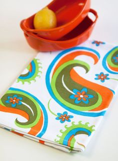 Paisley Tea Towel White by swizzlestixshop on Etsy (Home & Living, Kitchen & Dining, Linens, Dishcloths & Kitchen Towels, Tea Towels, tea towel, retro, orange, paisley, flower, summer, summertime, hostess gift, housewarming gift, white, retro inspired towel, paisley tea towel, modern tea towel)