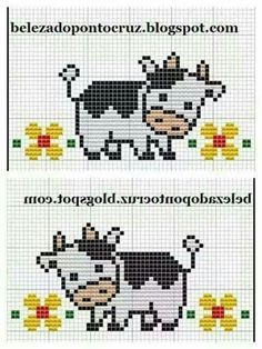 Ideas embroidery quotes baby for 2019 Cross Stitch Cow, Cross Stitch Borders, Cross Stitch Animals, Cross Stitch Designs, Cross Stitching, Cross Stitch Patterns, Embroidery Hearts, Cross Stitch Embroidery, Embroidery Patterns