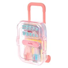 Keep your nails looking great on vacation with this Pink Suitcase Mani Traveling kit. Packed inside you'll find a set of powder blue and white polka dot press on nails, one nail file and two shimmering nail polishes.Operational wheels and W x H Makeup Kit For Kids, Kids Makeup, Pedicure Kit, Manicure Set, Fake Nails For Kids, Short Fake Nails, Pink Suitcase, Cool School Supplies, Toys For Girls