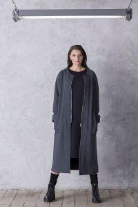 płaszcz LONG  ciemno szary