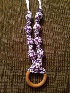 Purple with white flowers teething/nursing necklace $15
