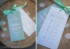 Ontwerp Marjolein Vormgeving. Trouwkaarten Tim & Julia #trouwkaart #ontwerp #mint #roze #labels #lint #satijn #trouwkaarten #kaarten #trouwen #uitnodiging
