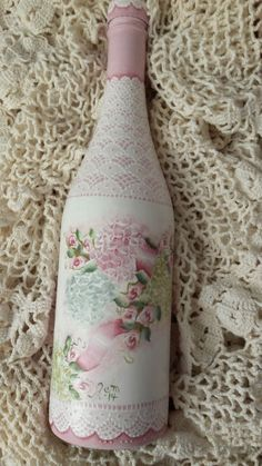 Hand Painted Bottle Cottage Chic Pink Roses Hydrangeas Shabby Lace Victorian HP