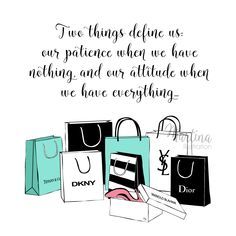 Attitude and patience quote fashion illustration