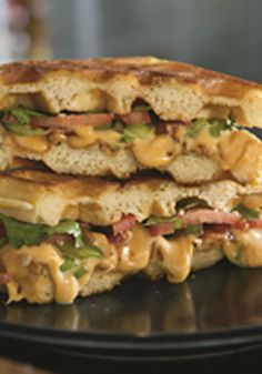 Wake Up Your Waffle Sandwich -- No need for syrup here. These grilled-cheese waffles sandwich a savory combination of peppers and bacon. Plus, this recipe is ready to enjoy in just 25 minutes time! Waffle Sandwich, Sandwich Recipes, Brunch Recipes, Breakfast Recipes, Drink Recipes, Breakfast Ideas, Wrap Sandwiches, Breakfast Sandwiches, Kraft Recipes