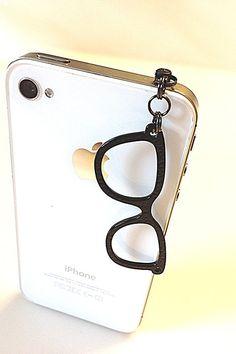 Phone dust plug jack charm black glasses chain by donutsandcoffee, $5.50