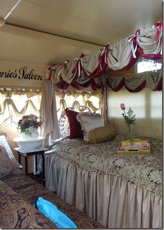 A Perfect Sisters Weekend...glamping canopy bed (It is hard to believe this is in a trailer!)
