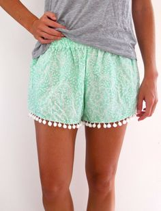 Pom Pom Shorts Mint Green Pattern with Large White by ljcdesignss