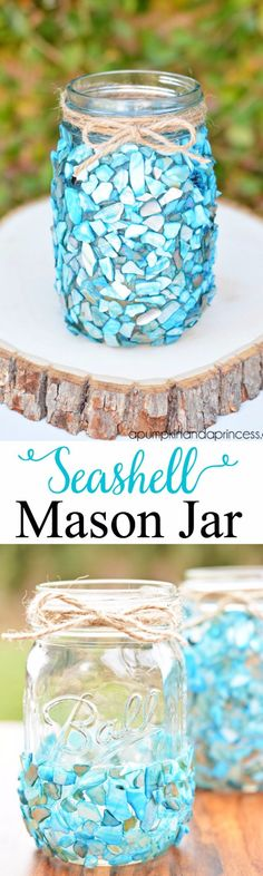 Mason Jar Ideas for Summer - Broken Seashell Mason Jar - Mason Jar Crafts, Decor and Gifts, Centerpieces and DIY Projects With Jars That Are Perfect For Summertime - Fun and Easy Lights, Cool Vases, Creative 4th of July Ideas