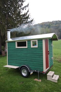 my latest wood fired mobile sauna: a full service trailer sauna, complete with dressing room, shower and lights!