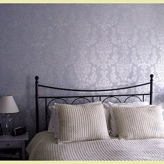 Metallic stenciled wall. Always loved this idea!!!!