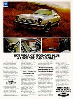 The Best Resource on the Net of Vintage Ads! Vega has won more automotive honors than any… Chevrolet Vega, General Motors, Vintage Advertisements, Vintage Ads, Retro Ads, Chevy Jokes, Volkswagen, Toyota, Automobile