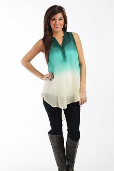 """Fade Away Tunic, Green $37.50  This sheer tunic is divine! The ombre look is still big this season, and we love the beautiful green that fades to white in this piece! Plus, it's sleeveless and sheer so you can wear it now with layers or alone when the weather warms up!   Fits true to size. Miranda is wearing a small.   From shoulder to hem:  Small - 27.5""""  Medium - 28.5""""  Large - 29.5"""""""