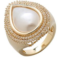 Fresh Water Mabe Pearl & White Topaz Sterling Silver Halo Ring - GOLD/WHITE