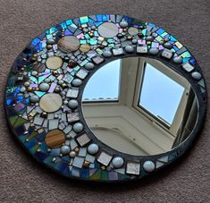 Stained glass mirror moon mosaic - All For Remodeling İdeas Stained Glass Mirror, Stained Glass Birds, Mirror Mosaic, Stained Glass Panels, Mirror Art, Mosaic Wall, Mosaic Glass, Fused Glass, Glass Art Pictures