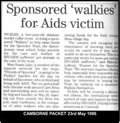 Pickles goes on sponsored walk for HIV/AIDS related trust. 1995 #LGBT  http://www.lgbthistorycornwall.blogspot.com