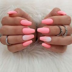 Are you looking for summer nails colors designs that are excellent for this summer? See our collection full of cute summer nails colors ideas and get inspired! Coffin Nails Matte, Pink Acrylic Nails, Matte Pink Nails, Matte Nail Polish, Glitter Nails, Pink Sparkle Nails, Matte Nail Colors, Coral Nails, Pretty Nail Colors