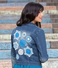 Doilyed for Denim Jacket Free Crochet Pattern in Aunt Lydia's Crochet Thread