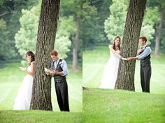 """After all the morning pictures we headed over to [the groom] who was waiting behind a tree - for the best NOT first look EVER !"" .. ""They shared cards and a prayer before the day started."" So cute! And it's totally gotta settle down the wedding jitters to be able to talk & pray together before the ceremony!!"