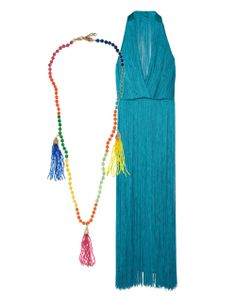 Rosantica necklace, net-a-porter.com  Tamara Mellon fringed halterneck dress, net-a-porter.com